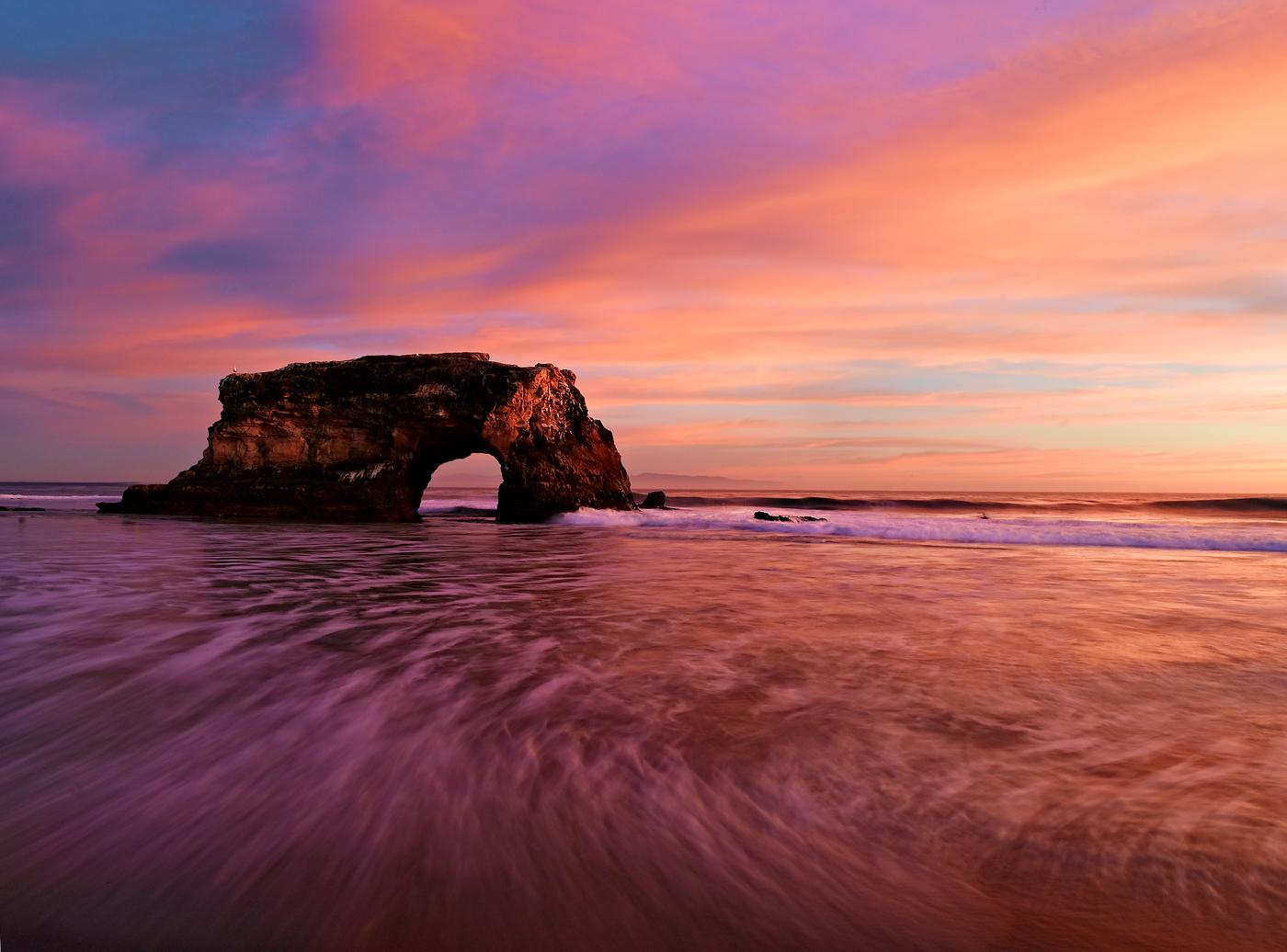 Sunset at Natural Bridges State monument in Santa Cruz, California.