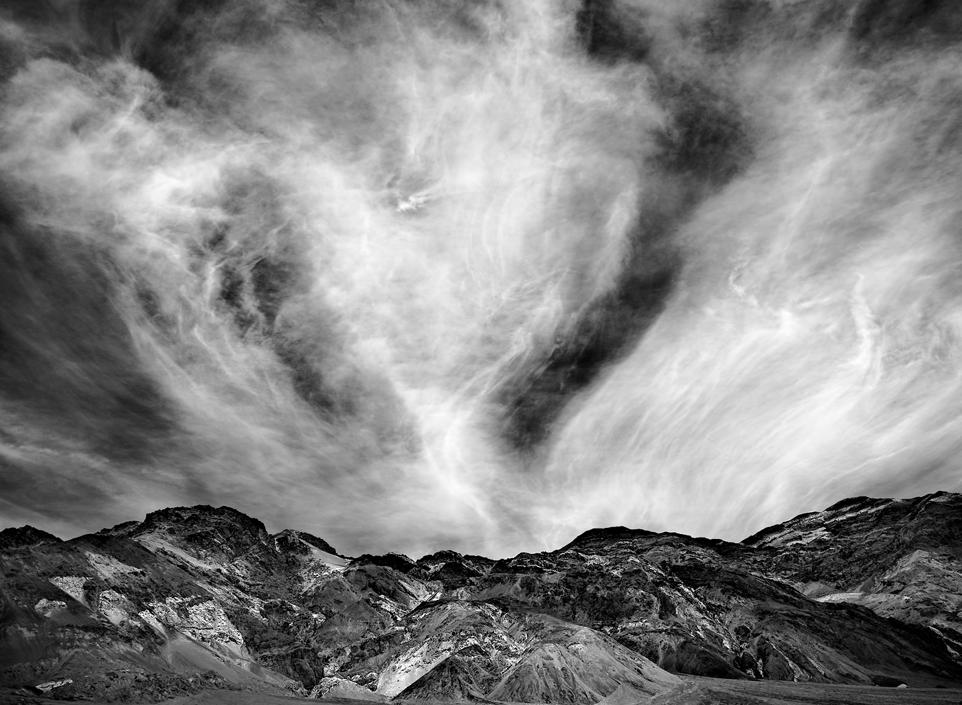Clouds rising in Death Valley National Park.