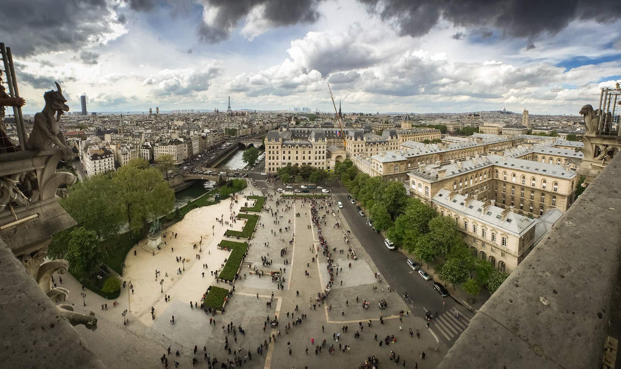 Cityscape of Paris, France as seen from the top of Notre-Dame Cathedral.