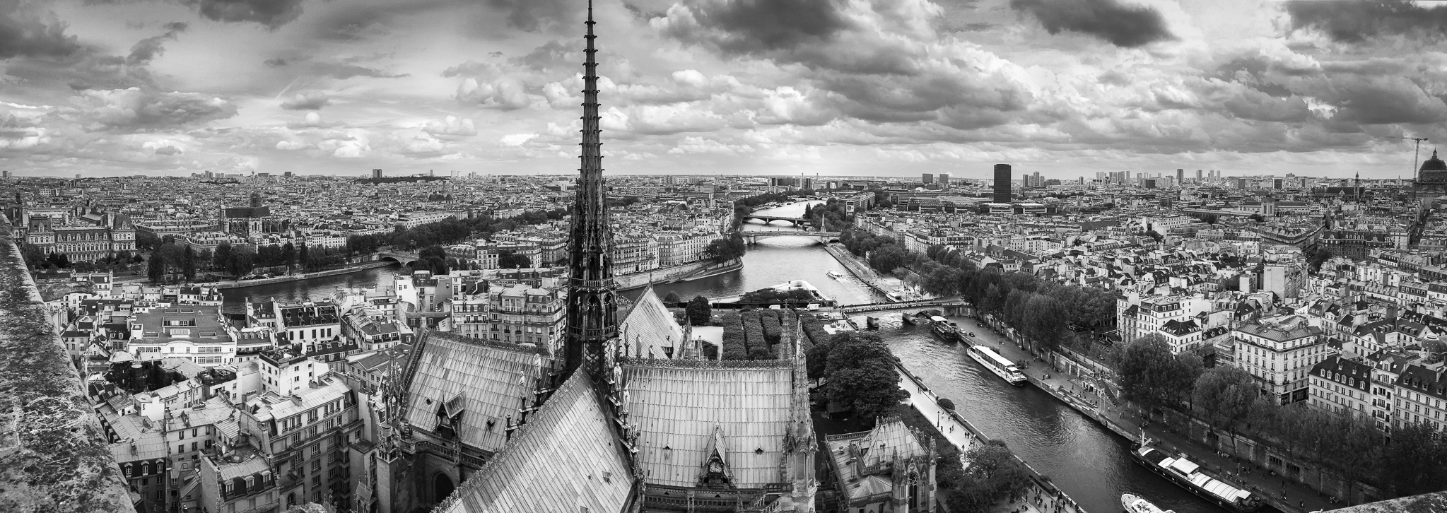 Panoramic view of the cityscape of Paris as seen from the top of Notre-Dame Cathedral.