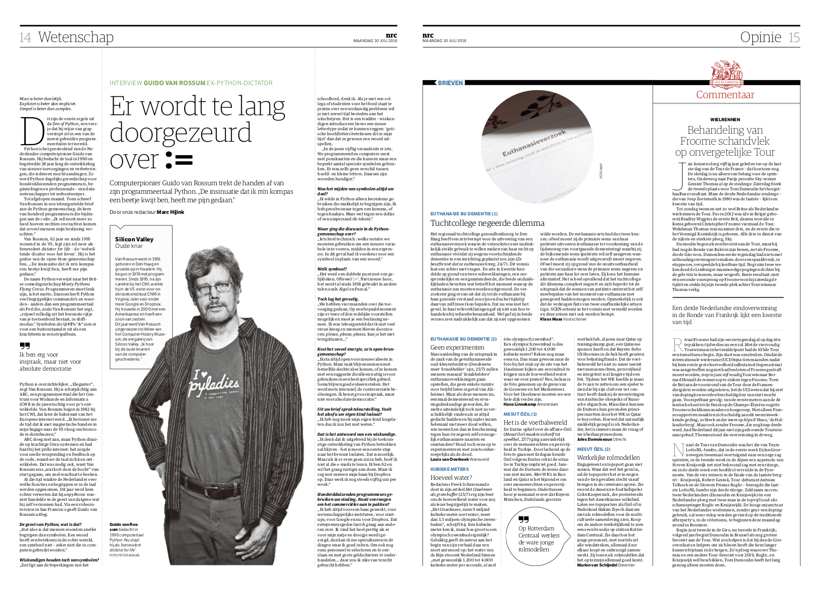 Guido van Rossum profile in NRC Handelsblad, July 30, 2018.